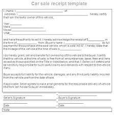 Auto Sales Receipt Template Car Bill Of Sale Receipt Download Selling Template Vehicle
