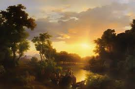 italian landscape at sunset painting by mountain dreams