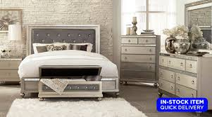 Celine Silver Upholstered, Crystal Tufted Bed, Dresser U0026 Mirror Set With  Mirrored Accents