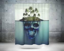 unique shower curtains. Skull Shower Curtain | Bathroom Decor Cool Curtains Ocean Unique