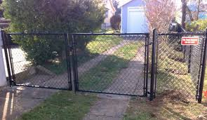 black chain link fence gate.  Fence Black Chain Link Dbl Drive Gate And Fence K