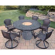 oakland living tuscany 8 piece outdoor set with 60 round table 6 swivel chairs and plus stainless steel ice bucket in black