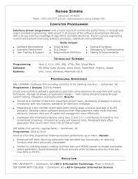 Sample Computer Programmer Resume Sample Resume For Internship In Computer Science Programmer