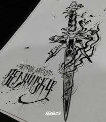 фото эскизы кортик кортик в стиле графика татуировки на бедре