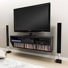 Black Wooden Wall Mounted Tv Shelves For Lcd Tv On The Wall Completed By  Double High Sound Systems