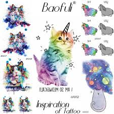Dočasné Kreslených Zvířat Tetování Flash Kočka Jednorožec Vody