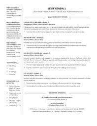 Professional Resume Objective Examples Security Officer Resume