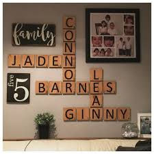 gallery wall decor wooden sign family sign family number sign scrabble letters wallart personalized decor custom