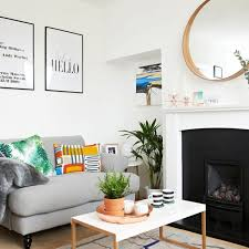 living room pictures. White Living Room With Grey Sofa And Colourful Cushions Pictures O