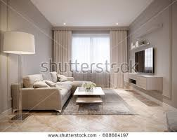 beige living room. Modern Beige Gray Living Room Interior Design With Large Light Sofa And White Curtains R