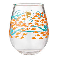 6002194 Enesco Designs by Lolita Fish Out of Water Acrylic Stemless Wine  Glasses Set of 2
