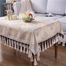 wedding party tassel tablecloth heavy weight cotton linen round rectable table cloth bedside side mantel table cover small tablecloths linens for