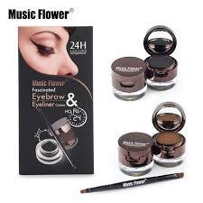 flower brand makeup set 4 in 1 brown black gel eyeliner eyebrow powder kit
