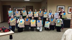 cocoa and canvas paint party at aquinas college