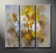 series of abstract oil paintings canvas of flowers 0089