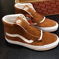 vans sk8 hi reissue pig suede leather brown