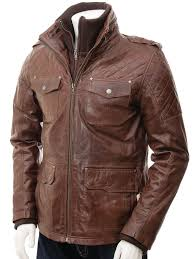 mens leather jacket in brown salavat front