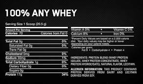 optimum nutrition 100 any whey instantized protein nutrition information