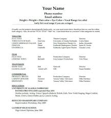 Acting Resumes With No Experience Child Acting Resume Template No