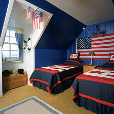 Boys' twim loft bedroom with American theme
