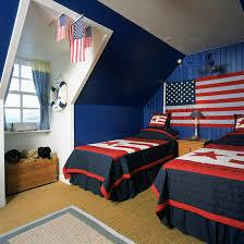 Boys' twim loft bedroom with American theme