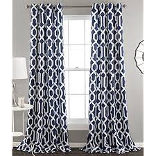 Lush Decor Edward Trellis Room Darkening Window Curtain Panel Pair, 84 inch  x 52 inch, Navy, Set of 2