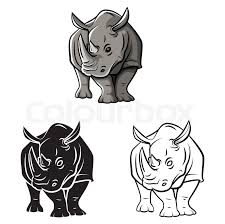 coloring book rhinoceros tattoo cartoon character stock vector colourbox