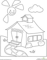 b28c4bb9ff60881979a2e4dbbe32ac8f color the schoolhouse back to, colors and back to school on first day of kindergarten worksheets