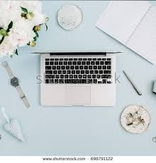 flat workspace home office. flat lay home office desk women workspace with laptop white peony flowers bouquet