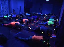 flow glow blacklight yoga party