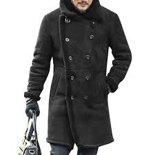 charmkpr mens mid long faux leather coat winter warm fur leather double ted suede jackets newchic