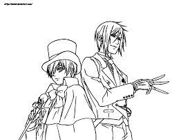 ciel phantomhive and sebastian michaelis by ioshiklineart on fancy picturesque black butler coloring pages endearing