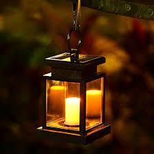Outdoor Candle Lighting LED Solar Powered Wall Lamp Umbrella Lantern Candle Lights Outdoor Home Garden Porch Courtyard Indoor Lighting E