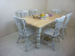 picture of 6ft solid wood farmhouse table and 6 chairs