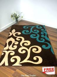 teal and brown area rug orange chocolate turquoise rugs