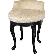 bathroom white fur fabric arm less swivel vanity stool with back and black stained wooden
