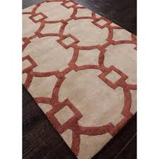 picture of jaipur city hand tufted geometric pattern wool art silk taupe red
