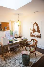 eclectic design home office.  Home Los Angeles Comfy Armchair Design Home Office Eclectic With Leopard Rug  Ceramic Accent And Garden Stools Desk Inside Eclectic Design Home Office