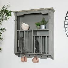 grey wall mounted plate rack shelving