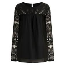 whole plus size lace panel chiffon blouse black 4x polyester spring