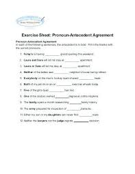 Pronoun Antecedent Agreement Grade Subject Verb Agreement Worksheets Lovely Indefinite Pronouns