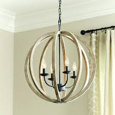 wood orb chandelier the 4 light pendant features a rustic weathered oak wood in a modern