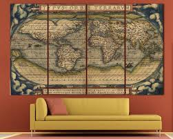 Large Vintage World Map 3 Panel Wall Art At Texelprintart Regarding 4 Piece  Wall Art (