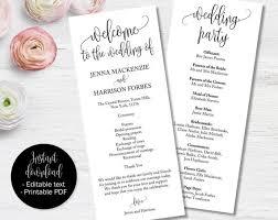 Ceremony Template Wedding Day Program Template Wedding Ceremony Order Of Service Booklet Program Church Or Civil Service Wedding Program Template Printable