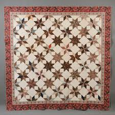 Pieced Chintz and Cotton Fabric Geometric Star Patterned Quilt ... &  Adamdwight.com