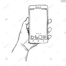 Sketch Hands With The Phone Isolated On A White Background Vector