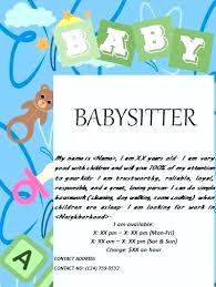 Babysitting Flyer Template Babysitting Poster Template Bettylin Co