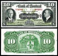 bank of montreal 10 dollars 1935 first note printed for the series