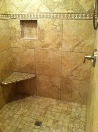 Beautiful custom walk-in shower (with no doors) installed in Hudson, Ohio.  Ceramic tile and granite seat.