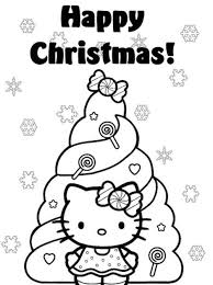 Happy Christmas Hello Kitty Coloring Pages Christmas Tree